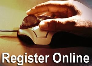 Hand on Trackball Mouse with Words: Register Online